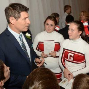 Steve with Cheerleaders